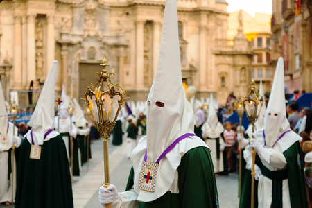 semana: MURCIA, SPAIN - APRIL 15, 2014: Semana Santa in Murcia. Holy Week is  annual commemoration  by Catholic religious brotherhoods, processions on the streets