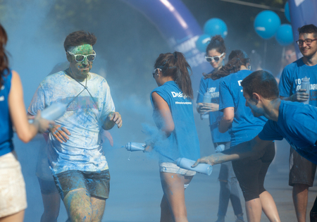 dirty man: BARCELONA, SPAIN - JUNE 7, 2015: Dirty man running at The Color Run