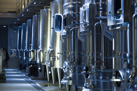 stell: equipment of  winemaker factory with  stell barrels