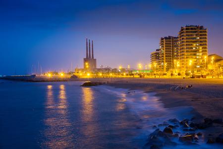 fabrica: Night view of beach at Badalona. Catalonia, Spain