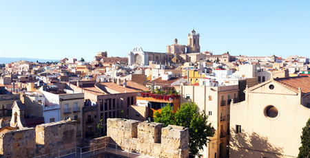 catalunia: Top view of  Catalan city with Cathedral. Tarragona, Catalunia Stock Photo
