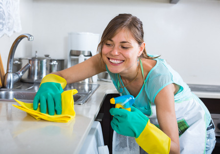 cleanup: Young maid doing professional clean-up in home interior