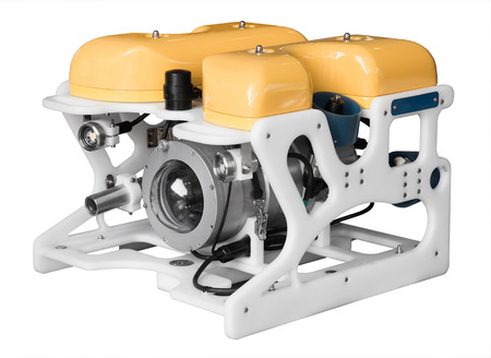 tether: Modern remotely operated underwater vehicle (ROV) isolated on white background Stock Photo