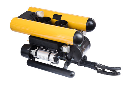 hydrocarbon: Modern remotely operated underwater vehicle (ROV) isolated on white background Stock Photo