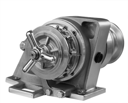 manoeuvre: New horizontal anchor windlass with electric motor, close up Stock Photo