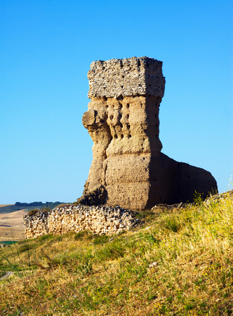 leon: destroyed clay castle of Palenzuela. Castile and Leon, Spain