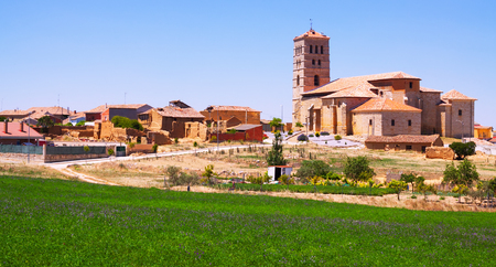 palencia province: View of Torremormojon with church. Castile and Leon, Spain