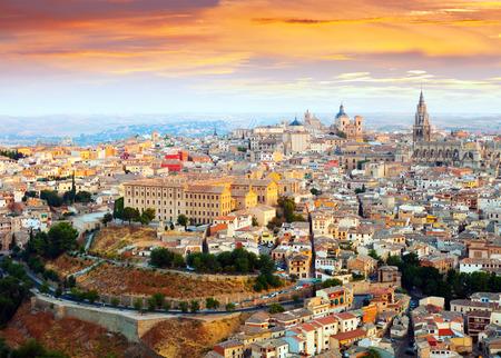 mancha: view of Toledo from hill in dawn. Castile�La Mancha, Spain
