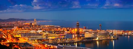 port: Panorama of Port Vell in night. Barcelona, Spain