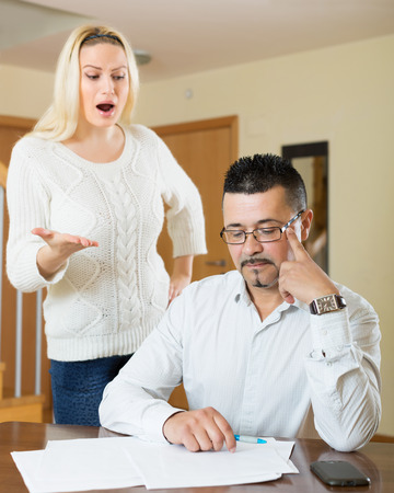 financial problems: Husband and wife having a financial problems