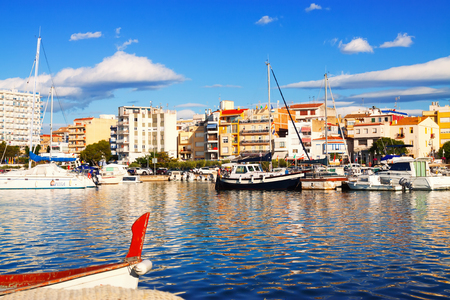 ebre: LAMPOLLA, SPAIN - AUGUST 13, 2014: View of typical mediterranean town from sea