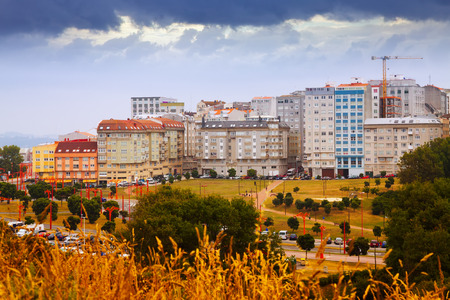 dwelling: dwelling houses at seafront in A Coruna. Galicia