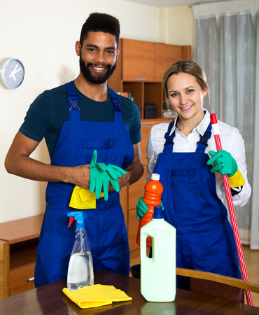 ordinary: Portrait professional cleaners cleaning and dusting in ordinary house