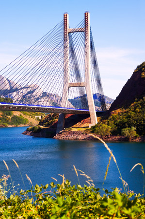 LUNA: bridge over reservoir of Barrios de Luna.  Leon, Spain