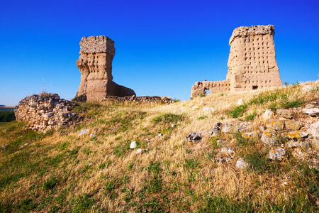castile: View of  Ruined  castle of Palenzuela.  Castile and Leon, Stock Photo