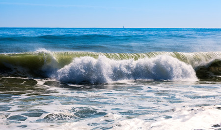 ocean and sea: High sea wave during strong wind at  Mediterranean