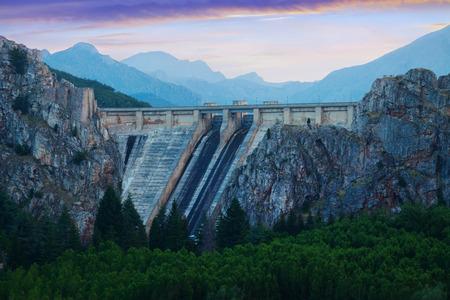 LUNA: Twilight view of dam at Barrios de Luna.  Leon, Spain Stock Photo