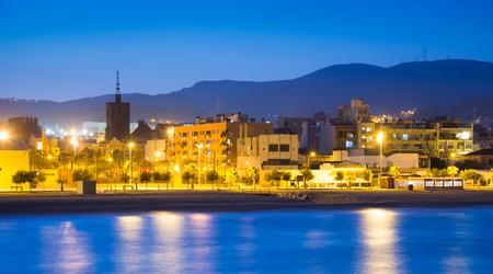 fabrica: Beach of Badalona  in evening time. Catalonia, Spain Stock Photo