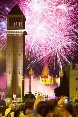 merce: BARCELONA, SPAIN - SEPTEMBER 24, 2015: Firework  in Barcelona. Light and music show at closing ceremonies of La Merce Festival