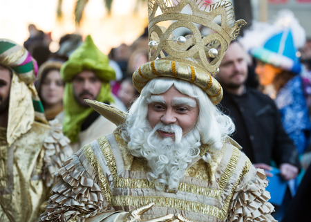 gaspar: BARCELONA, SPAIN - JANUARY 5, 2016: Cabalgata de Reyes Magos in Barcelona, Spain. Cavalcade of Magi is a traditional parade of kings