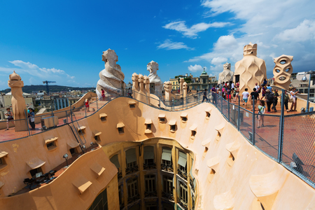 paseig: BARCELONA, SPAIN - JUNE 15, 2015: Roof of Casa Mila (La Pedrera) built in 1905–1910 by Catalan architect Antoni Gaudi. Barcelona Editorial