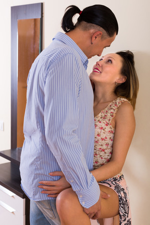 adult sex: Loving adult couple having sex at home