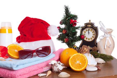 tropics: Christmas still life. Winter vacation in tropics Stock Photo