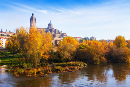 castile and leon: Autumn view of Salamanca with river and Cathedral. Castile and Leon, Spain