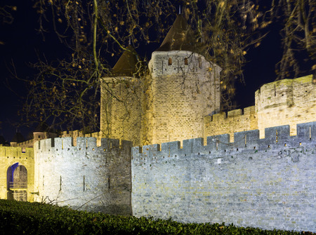 antiquary: castle and fortified city in night time.  Carcassonne, France Stock Photo