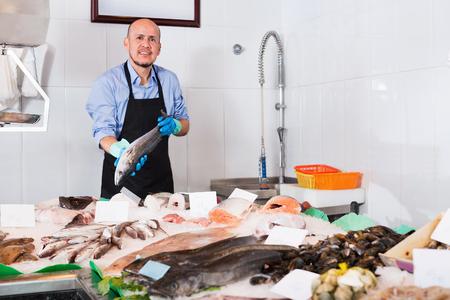 vendedor: Positivo vendedor sonriente madura con el delantal que ofrece pescado fresco en la tienda Foto de archivo