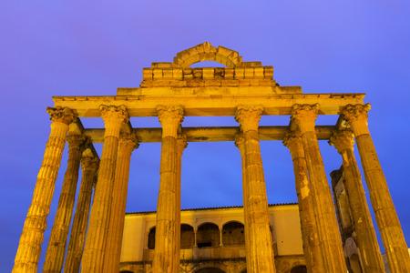 Roman temple: Closeup of ancient roman temple  in evening time. Merida, Spain