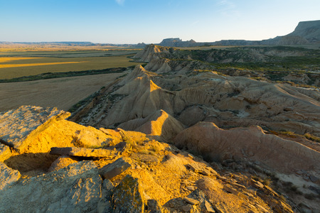 navarra: desert landscape of bardenas reales natural park in summer morning. Navarra