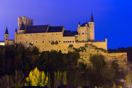 castile: Castle of Segovia in november  evening.  Castile and Leon, Spain