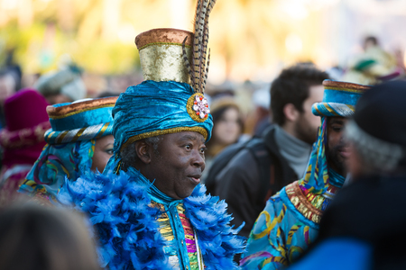 melchor: BARCELONA, SPAIN - JANUARY 5, 2016: Cabalgata de Reyes Magos in Barcelona, Spain. Cavalcade of Magi is traditional parade of kings  in  Spanish cities