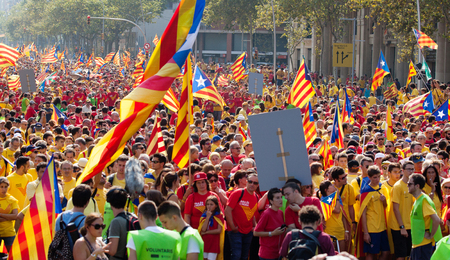 cityspace: BARCELONA, SPAIN - SEPTEMBER 11, 2014: Rally demanding independence for Catalonia (The National Day of Catalonia). Barcelona, Catalonia