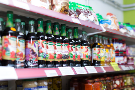 soft sell: BARCELONA, SPAIN - MARCH 22, 2015: Assortment of soft drinks at beverage section in average Polish supermarket. Editorial