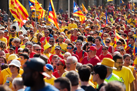 independency: BARCELONA, SPAIN - SEPTEMBER 11, 2014: People at rally demanding independence for Catalonia (National Day of Catalonia) Editorial