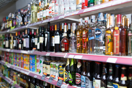 wine trade: BARCELONA, SPAIN - MARCH 22, 2015: Shelves   at beverage section of average Polish supermarket in Spain Editorial