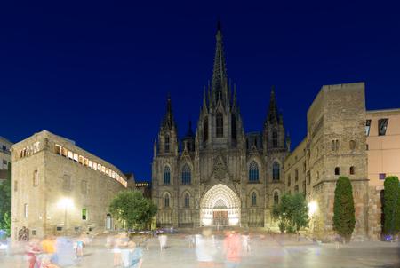 gotico: Catedral de la Santa Cruz y Santa Eulalia en la noche. Barcelona, ??Cataluña