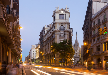 thoroughfare: View of Barcelona in twilight time. Spain.  Via Laietana is  name of  major thoroughfare in  old  district Stock Photo