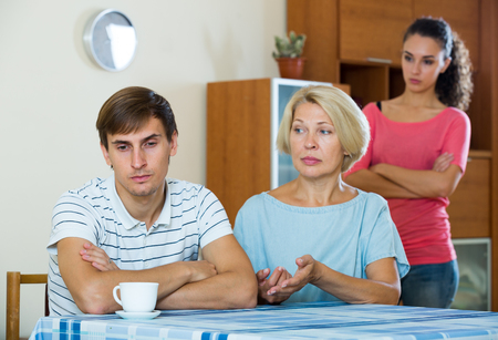 son in law: Adult guy having argue with wife and mother-in-law