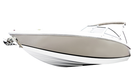 pleasure ship: Side of motor boat. Isolated over white background