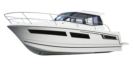 over white background: Motor boat. Isolated over white background