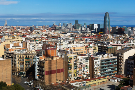 residential district: view of  residential  district. Barcelona, Spain