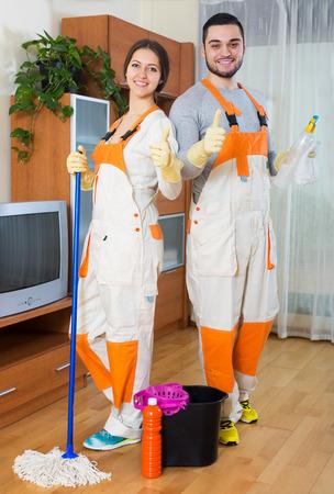 empleada domestica: productos de limpieza profesional de limpieza en la habitación