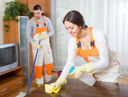cleaning team: Cleaning premises team working at clients home. Focus on girl