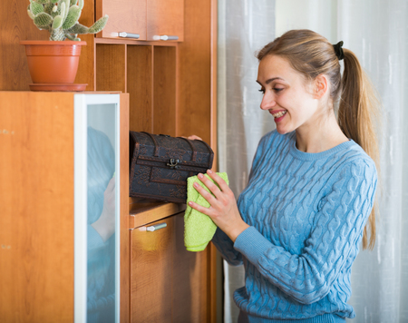cleanup: Smiling girl doing regular clean-up and dusting at home Stock Photo