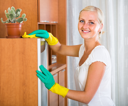 cleanup: Positive woman doing regular clean-up at home