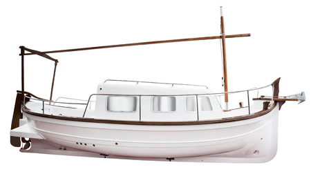 recreational: Recreational motor yacht isolated on white close up