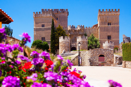 palencia province: Castle of Ampudia  in summer.   Province of Palencia,   Spain